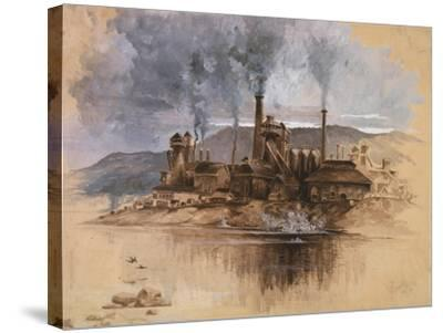 Bethlehem Steel Works in May 1881, Watercolor Painting by Joseph Pennell--Stretched Canvas Print