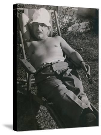 Albert Einstein Sunbathing in 1932--Stretched Canvas Print
