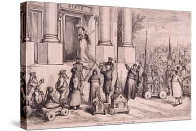 Thomas Nast Cartoon, Shows Priests Threatening the Doorway of the 'State'--Stretched Canvas Print
