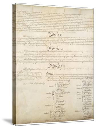 Signature Page of the Constitution of the United States of America, 1787--Stretched Canvas Print
