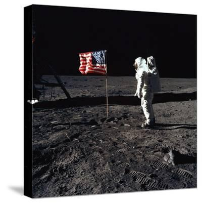 Apollo 11 Astronaut Buzz Aldrin During the First Lunar Landing, July 20, 1969--Stretched Canvas Print