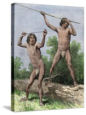 Native Hunters of Tierra Del Fuego with Spear and Sling--Stretched Canvas Print