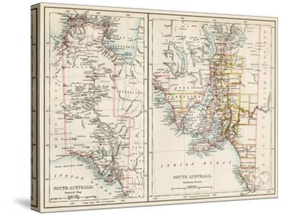 Map of South Austrailia, 1870s--Stretched Canvas Print