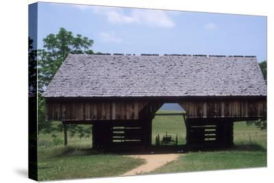 Wagon in a Cantilevered Barn, Cades Cove, Great Smoky Mountains National Park, Tennessee--Stretched Canvas Print