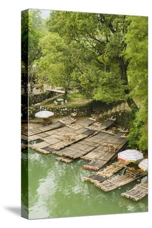 Bamboo Rafts Dock by Stone Stairs on the Li River Near Yangshuo, China-Jonathan Kingston-Stretched Canvas Print