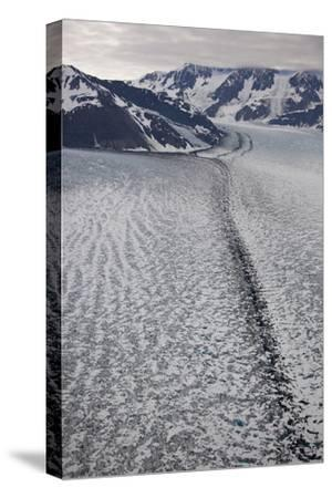 Moraine Lines at the Joining of Hubbard and Valerie Glacier-Matthias Breiter-Stretched Canvas Print