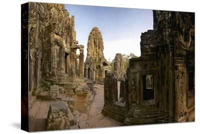 Ornate Bas Relief on the 12th Century Buddhist Pyramid Temple, Bayon-Jim Ricardson-Stretched Canvas Print
