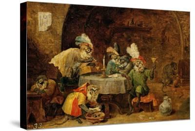 Monkeys Drinking And Smoking, 17th Century-David Teniers the Younger-Stretched Canvas Print