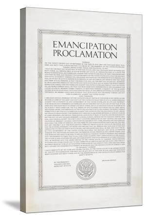 The Emancipation Proclamation. Abraham Lincoln Declares All Slaves in the United States Free--Stretched Canvas Print