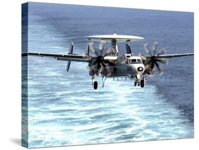 An E-2C Hawkeye Prepares For An Arrested Landing-Stocktrek Images-Stretched Canvas Print