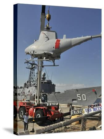 An MQ-8B Fire Scout Is Craned of USS McInerney-Stocktrek Images-Stretched Canvas Print