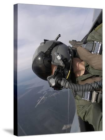 Cockpit View of a Pilot Flying An F-15 Eagle-Stocktrek Images-Stretched Canvas Print