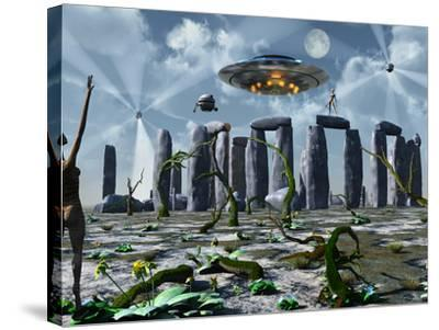 Alien Interdimensional Beings Recharge Their Vehicles at Stonehenge-Stocktrek Images-Stretched Canvas Print