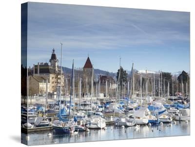 Ouchy Harbour, Lausanne, Vaud, Switzerland-Ian Trower-Stretched Canvas Print