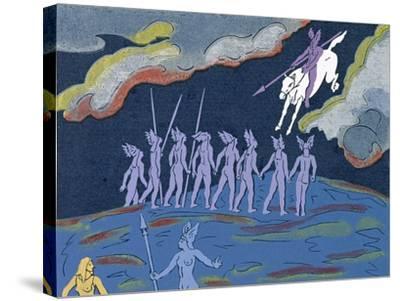 Wotan Arrives in Pursuit, Brunnhilde Sends Sieglinde to Safety: Illustration for 'Die Walkure'-Phil Redford-Stretched Canvas Print