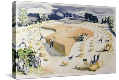 Harvesting, Printed at the Baynard Press, for School Prints Ltd.-John Northcote Nash-Stretched Canvas Print