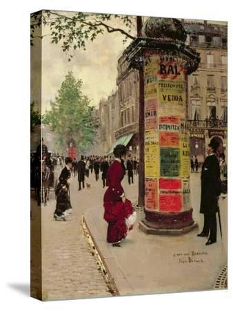 Paris Kiosk, Early 1880s-Jean B?raud-Stretched Canvas Print