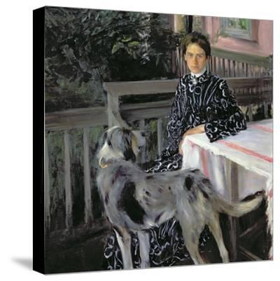 Portrait of Yulia Yevstafievna Kustodieva (1880-1942) the Artist's Wife, 1903-Boris Kustodiyev-Stretched Canvas Print