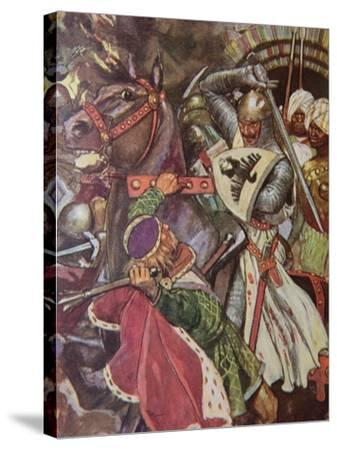 """""""Turn, False Hearted Templar!. Let Go Her Whom Thou Art Unworthy to Touch!."""", Illustration from…-Maurice Greiffenhagen-Stretched Canvas Print"""