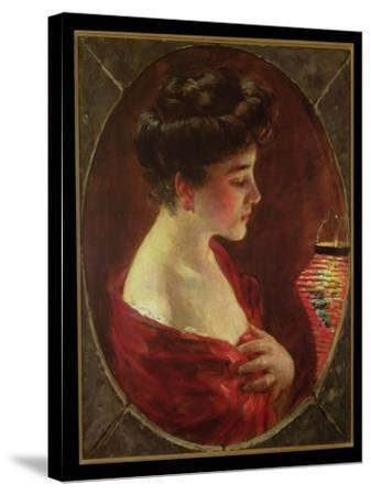 Woman with Japanese Lantern-James Carroll Beckwith-Stretched Canvas Print
