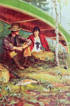 Couple Taking Shelter from the Rain under a Boat-Philip Russell Goodwin-Stretched Canvas Print