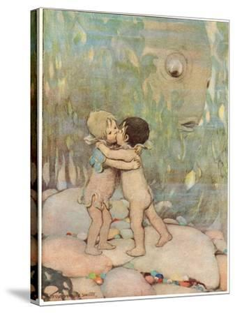Tom and Ellie, Illustration from 'The Water Babies' by Reverend Charles Kingsley-Jessie Willcox-Smith-Stretched Canvas Print