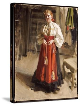 Girl in Orsa Costume, 1911-Anders Leonard Zorn-Stretched Canvas Print