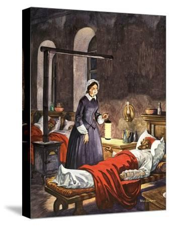 Florence Nightingale. The Lady with the Lamp, Visiting the Sick Soldiers in Hospital-Peter Jackson-Stretched Canvas Print