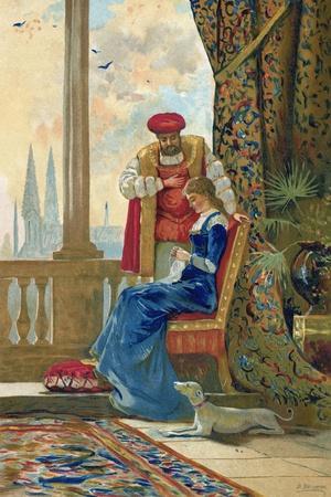 King Henry VIII and Ann Boleyn-Dionisio Baixeras-Verdaguer-Stretched Canvas Print