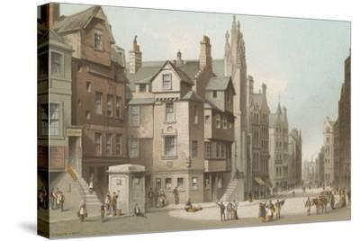 John Knox's House and Canongate - Edinburgh-English School-Stretched Canvas Print