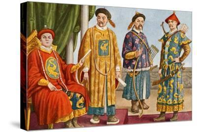 Chinese Costumes - Emperor, Mandarin, and Military Mandarin-Tancredi Scarpelli-Stretched Canvas Print