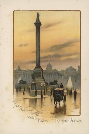 The Nelson Column, the National Gallery, Trafalgar Square-English School-Stretched Canvas Print