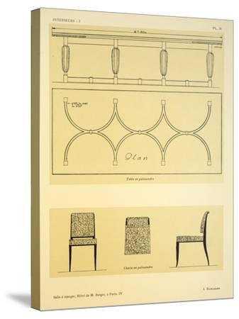 Salle a Manger IV, Hotel de M. Berger, a Paris, Illustration from 'Interieurs' by Leon Moussinac,…-Jacques-emile Ruhlmann-Stretched Canvas Print