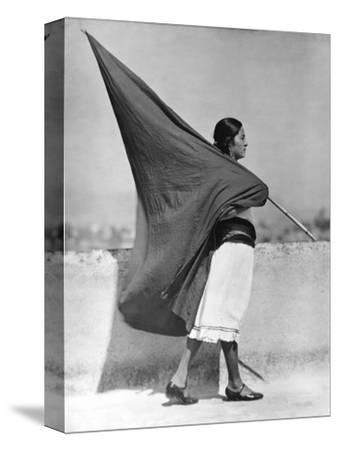 Woman with Flag, Mexico City, 1928-Tina Modotti-Stretched Canvas Print