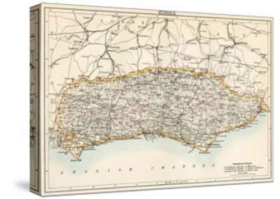 Map of Sussex, England, 1870s--Stretched Canvas Print