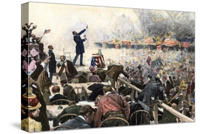 Crowds Cheer Speaker at Republican Convention Which nominated Theodore Roosevelt, Chicago, 1900--Stretched Canvas Print
