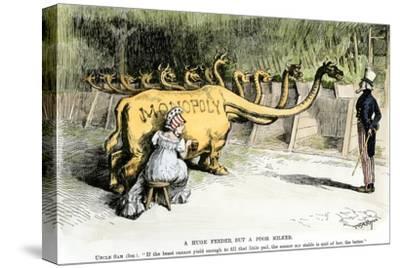 "Monopoly Dragon, ""a Huge Feeder, But a Poor Milker,"" 1887 Cartoon Favoring Antitrust Legislation--Stretched Canvas Print"