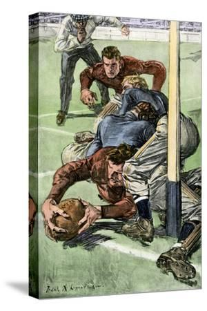 Touchdown Scored in a College Football Game, Early 1900s--Stretched Canvas Print