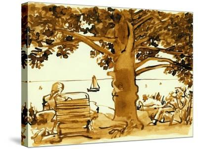 Picnic on the Maine Coast, 1975, ink drawing--Stretched Canvas Print