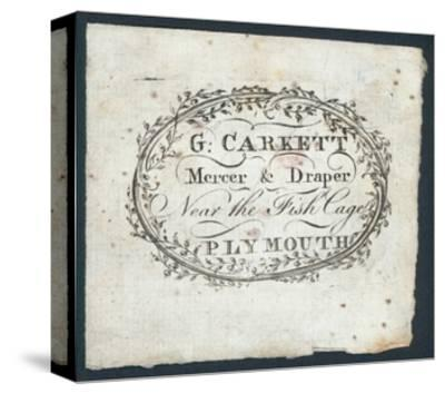 G Carkett, Mercer and Draper, Trade Card--Stretched Canvas Print