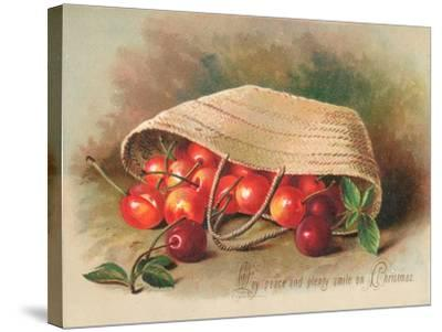 Basket of Cherries, Christmas Card--Stretched Canvas Print