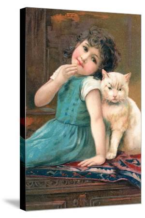 A Young Girl Posing with a Cat--Stretched Canvas Print