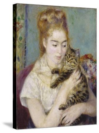 Woman with a Cat, C.1875-Pierre-Auguste Renoir-Stretched Canvas Print