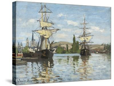 Ships Riding on the Seine at Rouen, 1872- 73-Claude Monet-Stretched Canvas Print