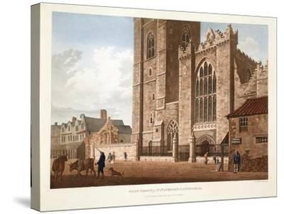West Front of St. Patrick's Cathedral, Dublin, 1793-James Malton-Stretched Canvas Print