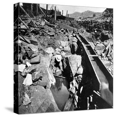 Placer Mining, Panning Out, from 'Gems of California Scenery' Published by Lawrence and…--Stretched Canvas Print