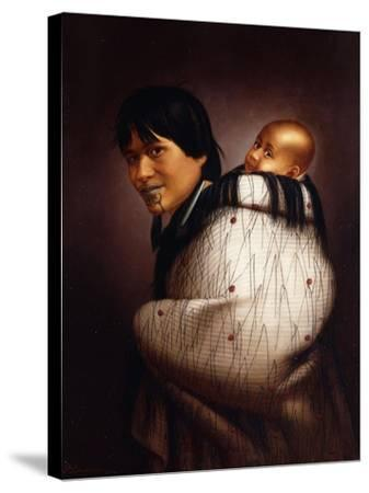 Ana Rupene and Child-Gottfried Lindauer-Stretched Canvas Print