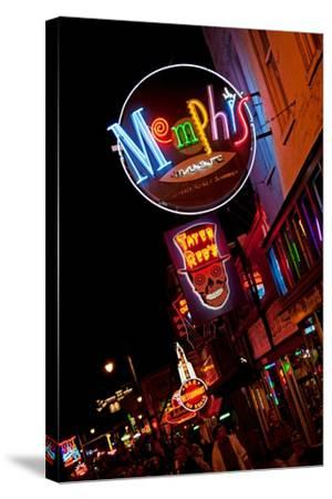 Beale Street at Night in Memphis Tennessee--Stretched Canvas Print