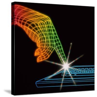 Computer Keyboard-Tony Craddock-Stretched Canvas Print
