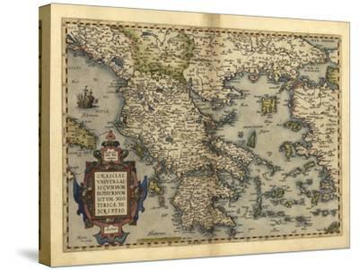 Ortelius's Map of Greece, 1570-Library of Congress-Stretched Canvas Print